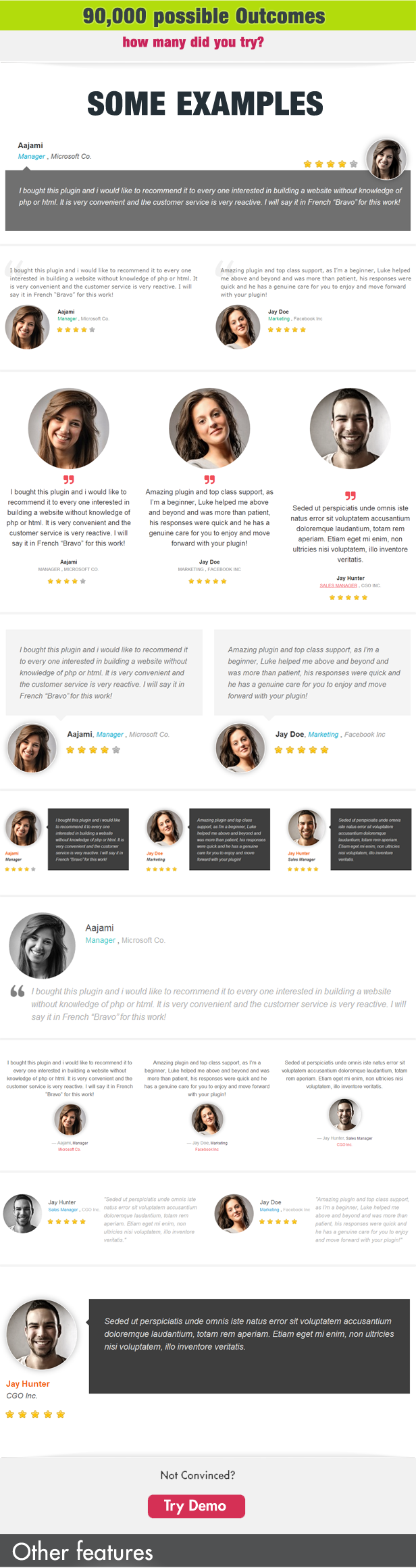 Testimonials Showcase for Visual Composer Plugin 4